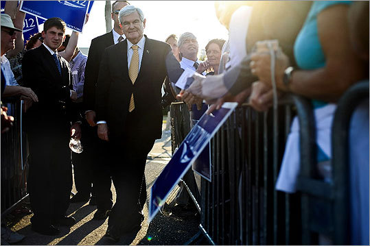 Newt Gingrich spoke to a crowd of supporters at Page Field in Fort Myers, Fla., on Jan. 30.