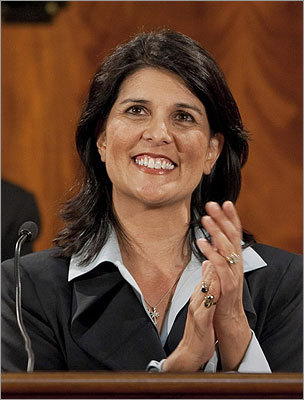 Nikki Haley At 40, the South Carolina governor is the youngest governor in the country. She also is the first female governor of her state, and the second Indian-American governor in the country. She fended off reports of extramarital affairs in 2010 by saying she would resign as governor if they were proven true. Haley has said she would say no if offered the vice presidential nomination.