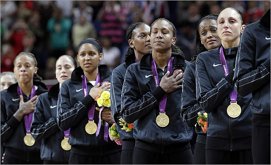 It was the customary Olympic ending for the US women's basketball team: hands on hearts, gold around their necks, and the national anthem playing.