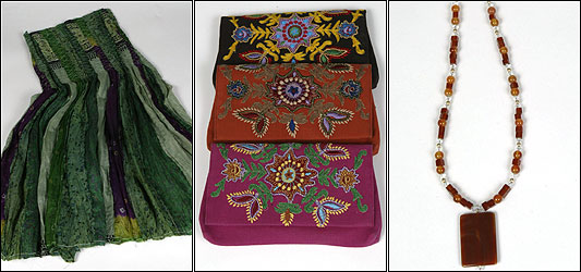 From left: Silk skirt by Chan Luu, $148; cotton wallets by Chan Luu, $38 each; carnelian and crystal necklace, $68. All sold at k ko.