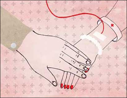 holding hands with an IV