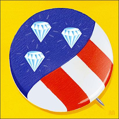 political button with diamonds