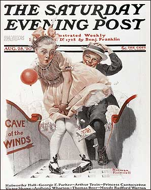 Rockwell's 'Cave of the Winds (Girl with Skirt Blowing Up),' on the cover of the Saturday Evening Post in 1920.