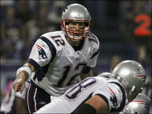 Tom Brady barked at his offensive line before he took the snap in the first half.