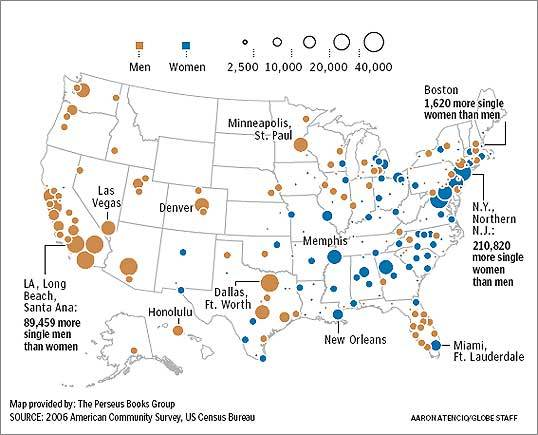A singles map of the United States of America - The Boston Globe