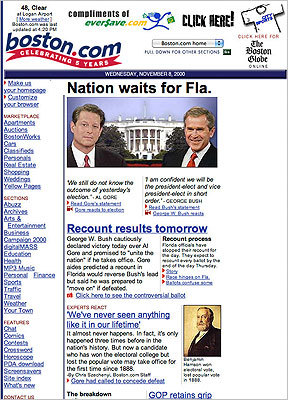 2000 The year 2000 marked the election where nonregistered voters and the dead voted for the next president. After it was uncertain whether George W. Bush or Al Gore had won Florida -- the state they both needed to win -- voter recounts were issued in the state. When it was over, Bush was affirmed as the next president of the United States. In 2000 the homepage, by now bursting at the seams, grew an annex known internally as 'the sidecar.'