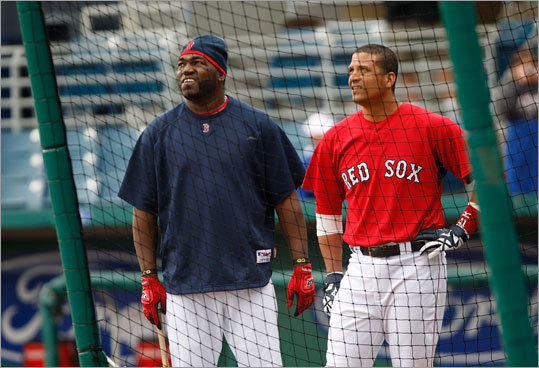 Designated hitter David Ortiz (left) and catcher Victor Martinez waited their turn to take batting practice.