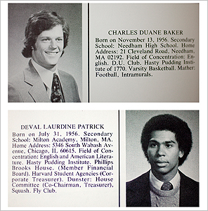 Deval Patrick '78 and Charles D. Baker '79 seen here in their Harvard College yearbooks.