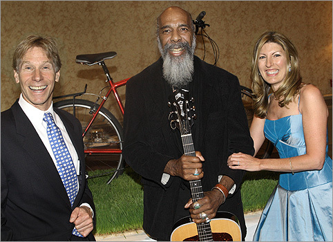 April 29 in Boston About 250 guests attended the Friends of Dana-Farber Surprise Party at the Four Seasons Hotel. From left: Guest of honor Billy Starr, founder and executive director of the Pan-Mass Challenge, musician Richie Havens, and Meredith Starr.
