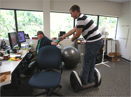 Segway rides A senior vice president at Natick insurance software and services company <a href='http://www.boston.com/business/special/topplaces/2010/profiles/enservio.html '>Enservio Inc. brought the machine to the office after winning one in a sweepstakes four years ago, and it's been in use a dozen times a day ever since, whisking employees to the printer and through slalom courses around the desks. Sales engineer David Moe, now out in the field, has used it to beat the rush of co-workers to the leftover Quiznos after catered lunch meetings. Full story: Swell on wheels