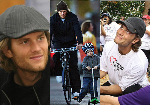 From family bike rides to community events, Brady has been donning hats during his most recent outings.