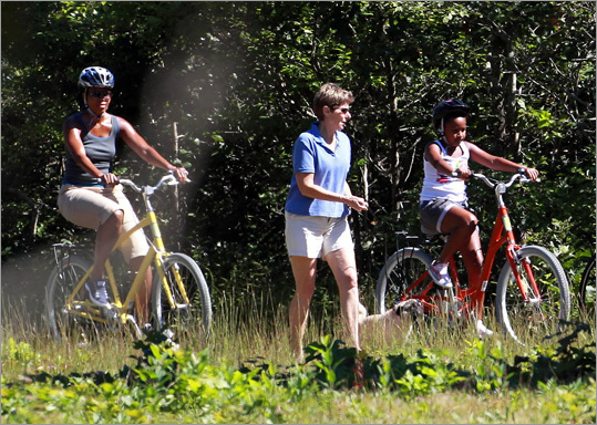 Michelle Obama took Sasha on a 6-mile bike ride through the Manuel F. Correllus State Forest in West Tisbury last summer.