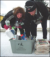 Barbara and her fiance, Mike Wilson, collected recyclable bottles and cans from nearby homes to earn extra money.