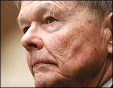 Defrocked priest John J. Geoghan listened to witness testimony during his 2002 child molestation trial.