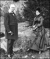 Gettysburg chronicler John Badger Bachelder and his wife at the battle site.