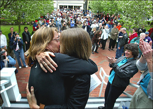 Counihan and Golden kiss on the steps of Provincetown Town Hall after obtaining their marriage license. 'One small kiss for us, one giant kiss for mankind,' Golden said.