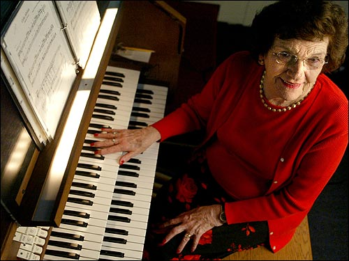 Marion Murphy, 72, church organist for 56 years at St. Joseph Parish, which is closing. ''The pastor called me at about 10 minutes to 10, to tell me the church is closing. I've always lived in Woburn. I grew up right across from the church. People always say, 'How do you keep doing it?' I tell them, 'On Sundays you get up and brush your teeth; I get up and play at Mass.' Sunday mornings are going to be very difficult. Where would I go? I'm not going to take someone else's job, and there are a lot of young organists out there.''