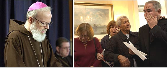 Left: Archbishop Sean P. O'Malley spoke to reporters. Right: The Rev. Bob Bowers, of St. Catherine of Siena Church in Charlestown, and parishioners reacted to news the church will close.