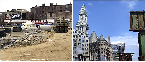 As what is left of the Central Artery disappears, nearby buildings are gaining valuable vistas. Martignetti Liquors in the North End (left) has more than doubled in value in the past 15 years.