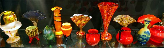 European art glass from the 1920s on display at the Emporium.
