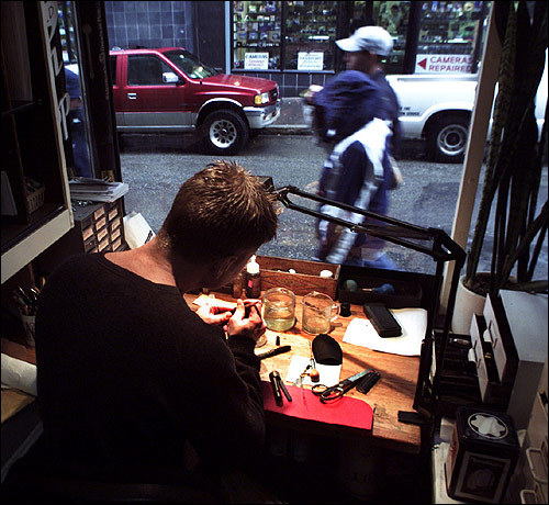 The Bromfield Pen Shop At the Bromfield Pen Shop, pen repair specialist Greg Byrne repairs Mont Blancs, Parkers, and Watermans as passersbys watch through a window. Bromfield has been around since 1948, and there's no other store like it left in Boston.