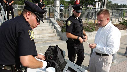 MBTA police randomly checked bags last week at the commuter rail station in Holbrook.