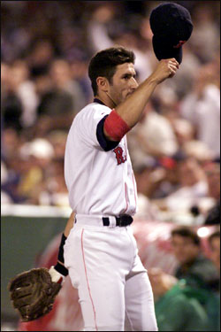 Garciaparra walks off the field to a standing ovation during the 1999 MLB All-Star Game played at Fenway Park.