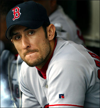 A downcast Garciaparra sits in the dugout after the Red Sox lost Game 2 of the 2003 ALDS to Oakland, putting the club in a 2-0 hole.