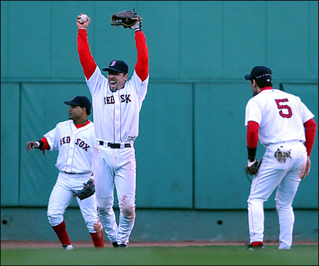 Garciaparra celebrates after Bill Mueller made a catch for the final out in Game 4 of the 2003 ALDS. The Sox won Game 5 as well to take the series 3-2, but would lose to the Yankees in the ALCS in seven games.