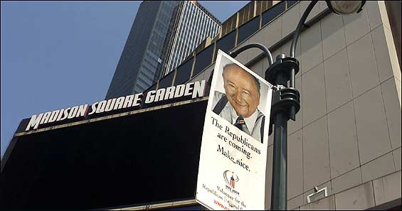 The image of former mayor Ed Koch adorned signs asking New Yorkers to be kind to the GOP.