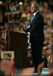 President Bush addresses the Republican National Convention. (Globe Staff Photo / David Kamerman)