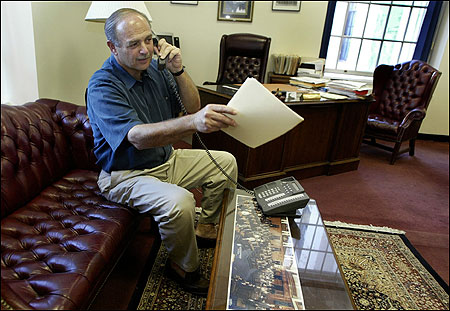 Majority leader Sal DiMasi, who could be named House speaker as early as tomorrow, took a call in his State House office yesterday, one of many conversations he had over the weekend.