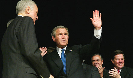 President Bush acknowledged applause during a signing ceremony of the Medicare bill at Constitution Hall in Washington in December 2003.