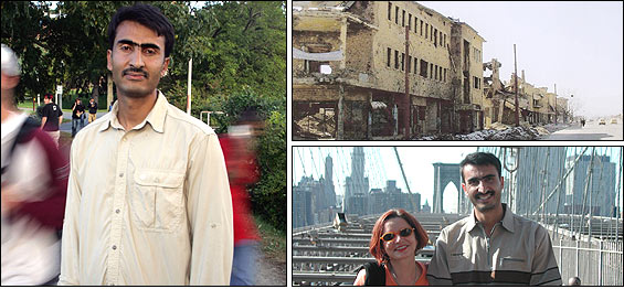 Clockwise from left: Zalmai yawar, 29, in Amherst late last month; a block of bomb-ravaged buildings near Zalmai Yawar's home in Kabul in 2002; Yawar and National Public Radio's Jacki Lyden on the Brooklyn Bridge.
