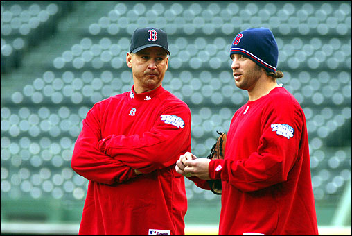 Manager Terry Francona chats with Mark Belhorn.