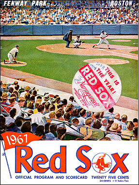 Every year when I was a kid, I saved one program book from a game. For some reason, I stuck a round Red Sox sticker on the cover of this one – a sticker sponsored by Narragansett beer.