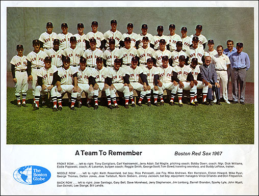"""This team photo ran in the Sunday Globe. At 6' 5"""", Gentleman Jim Lonborg in the back row towered over his teammates."""