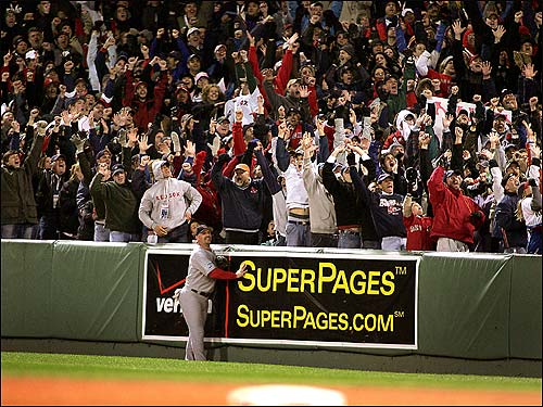 The Fenway faithful erupt as they watch Bellhorn's drive.