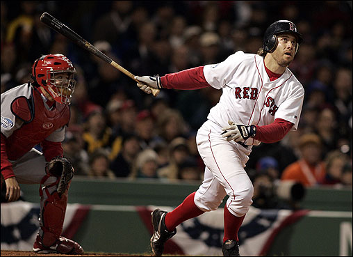 The Red Sox' Mark Bellhorn watched his game-winning home run in the eighth inning of the World Series opener on Oct. 23. The Sox defeated the Cardinals, 11-9. <img src='http://cache.boston.com/bonzai-fba/File-Based_Image_Resource/dingbat_arrow_icon.gif' alt='' title='' height='9' width='4' border='0' /> Story &nbsp; More photos