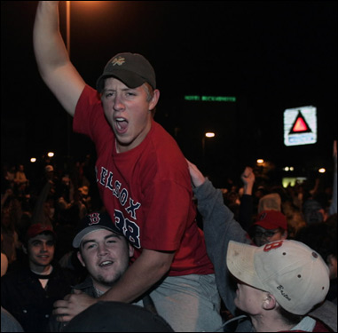 Fans celebrate in Boston