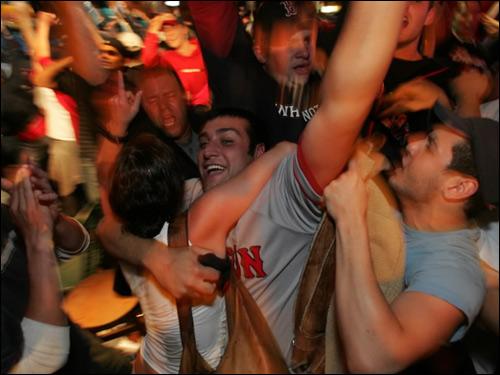 Fans celebrate in Boston