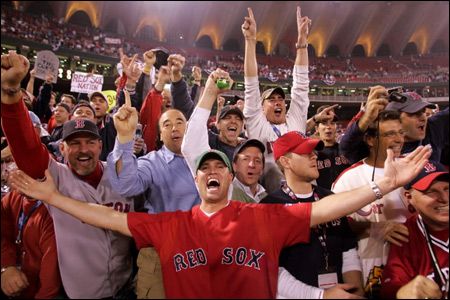 The atlas places Busch Stadium in St. Louis, but to these rejoicing fans the ballpark was the epicenter of Red Sox Nation.