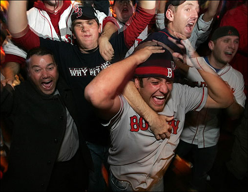 Red Sox fans celebrated the World Series victory at the Who's on First? bar near Fenway Park. <img src='http://cache.boston.com/bonzai-fba/File-Based_Image_Resource/dingbat_arrow_icon.gif' alt='' title='' height='9' width='4' border='0' /> Story &nbsp; Hometown crowd photos