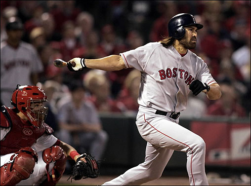 Johnny Damon gave the Red Sox a quick start in Game 4 on Oct. 27 as he became the 17th player in World Series history to lead off a game with a home run.