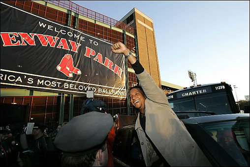 Pedro Martinez leaves Fenway Park after flying in from St. Louis. Hundreds of fans greeted the team upon their arrival home.