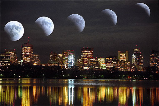 A total eclipse of the moon on Oct. 28 as photographed over Boston from Memorial Drive from 9:34 - 10:12 p.m. The eclipse ended at 11:44 p.m., four minutes after the last out in Game 4 of the World Series.