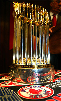 The World Series trophy sits on a table during a press conference at City Hall on Oct. 28 during which Mayor Thomas Menino and Red Sox president Larry Lucchino announced details for the Sox victory parade on Saturday.
