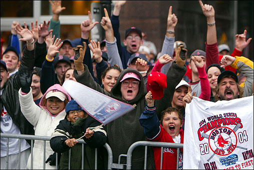 These fans can hardly contain their excitement as they tell the world that their city has the number-one baseball team.