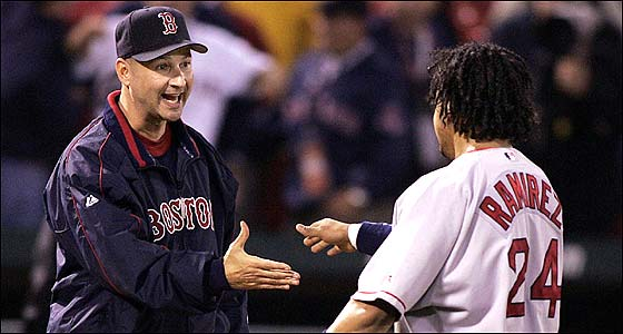 Tough when he had to be with Manny Ramirez, Terry Francona always remained a player's manager, and he's the first to congratulate his star left fielder after Game 3 of the Series.
