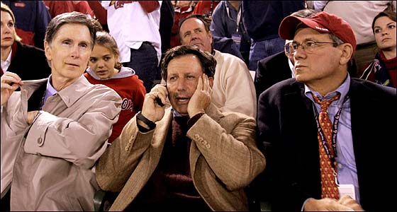 Sox owners (from left) John W. Henry, Tom Werner, and Larry Lucchino were front and center for Game 7 of the World Series.